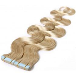 Extensions adhésives blond clair cheveux ondulés 48 cm