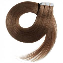 Extensions adhésives châtain clair cheveux raides 63 cm