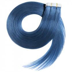 Extensions adhésives bleu cheveux raides 50 cm