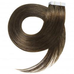 Extensions adhésives châtain cheveux raides 50 cm