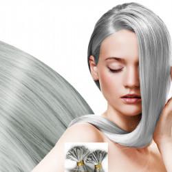 Extensions à chaud grises argentées cheveux raides 50 cm