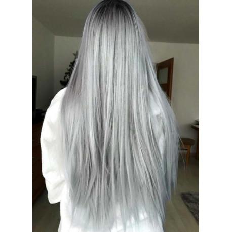 Extensions à clips grises argentées cheveux raides 53 cm
