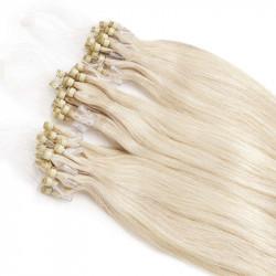 Extensions à loops blond polaire cheveux raides 48 cm